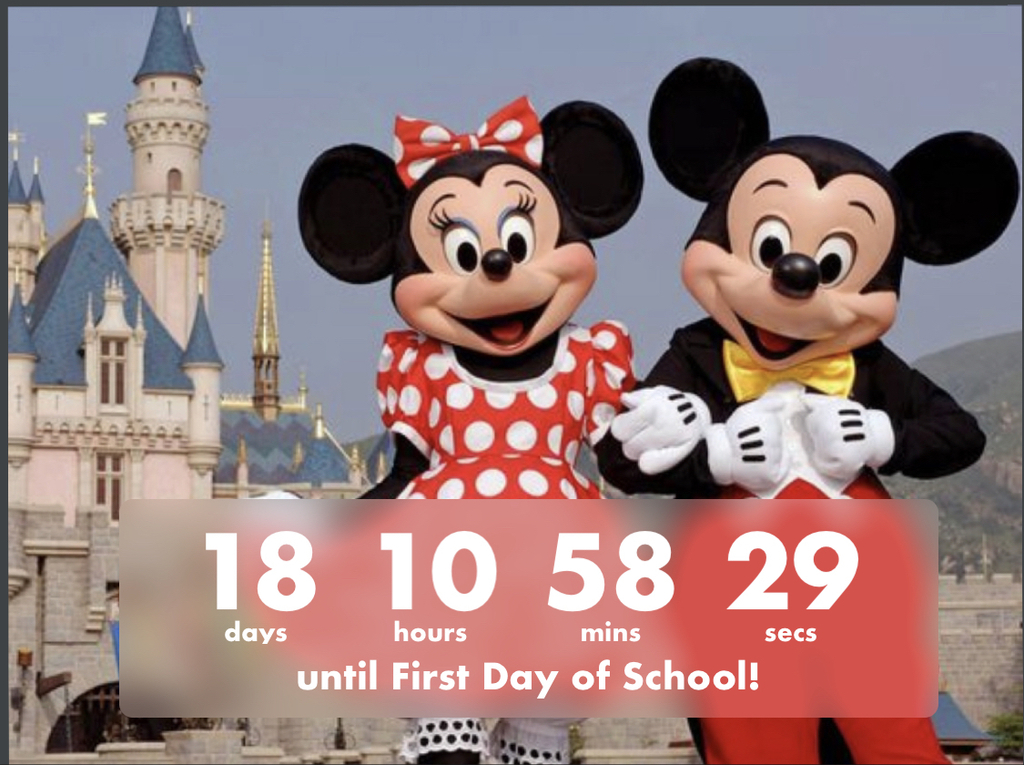 Countdown to first day of school